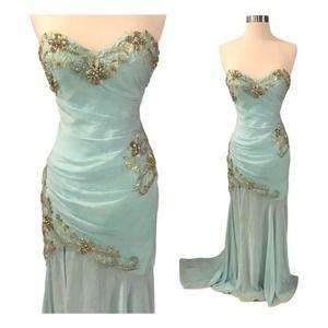 TERANI COUTURE Embellished Dress Mermaid Mint 2